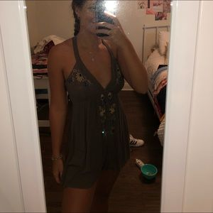 Embroidered Grey Romper